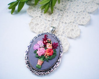 Deep red pink orange rose floral bouquet silk ribbon embroidery pendant Summer rose wedding jewelry boho Botanical nature inspired necklace