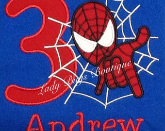 Spider Man Birthday Shirt with Number and Name