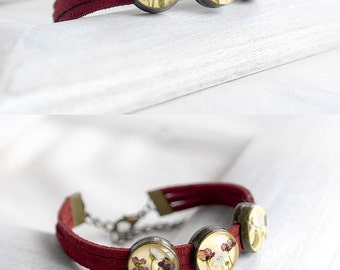 Red beaded bracelet gift for friend Friendship gift bff Fashion bracelet kids Yellow bracelet for aunt Prom bracelet Floral bracelet Marsala
