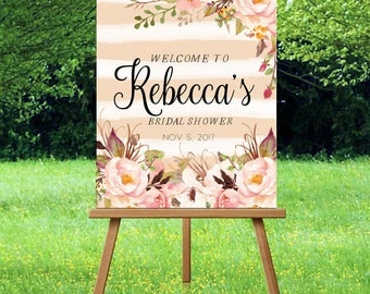 Bridal Shower Welcome Sign Printable Floral Peach Pink Rustic Bridal Shower Welcome Sign Large Floral Shower Welcome Welcome to our Bridal