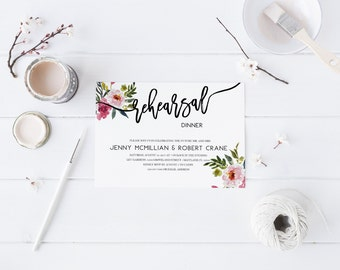 Floral Watercolor Dinner Rehearsal Invitation Wedding Rehearsal Invitation Dinner Party Invitation Calligraphy Invitation Modern Rehearsal