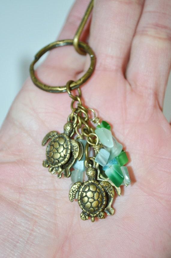 Swivel Clip Keychain Sea Turtles, Sea Turtle Keychain, Sea Turtles & Sea Glass Keychain with Clip, Turtle Keychain