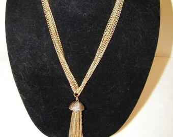Vintage Sarah Coventry Tassel Goldtone Multi Chain Necklace