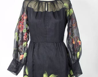 Vintage 1960/70s French Couture Black Hand Painted Floral Dress // roses
