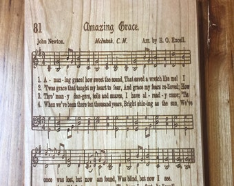 Amazing Grace laser engraved hymn.  Beautiful gift for your minister, choir director, choir member or music lover.