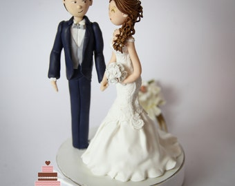Custom wedding cake Topper in fimo