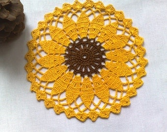 "Crochet sunflower doily 6"" Yellow doilies Small round doily  Sunflower Decor doily Crocheted sunflower"