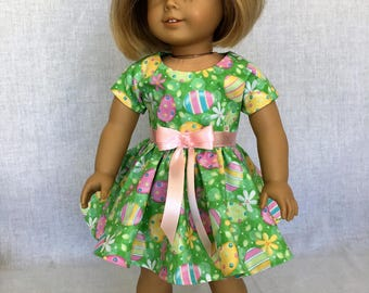 18 inch doll clothes - AG doll clothes - Easter dress - green dress - fits 18 inch dolls