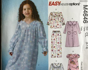 McCalls M4646 - Easy to Sew Girls Nightgown and Pajama Set - Size 6 7 8