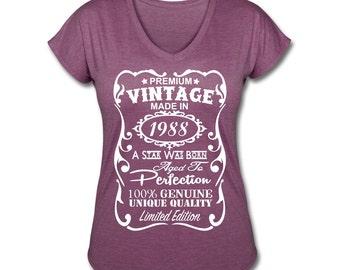 """39th Birthday Gift Ideas for Women **VELVETY PRINT** *Tri-Blend Colors* Memorable """"Made in 1988"""" design V-neck Shirt - Birthday Gift for Her"""