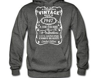 70th Birthday Gift Ideas for Men Unique Hoodie - ***Velvety Print*** - Made in 1947 Hoodie Gift - Perfect Birthday Gift Idea for Him