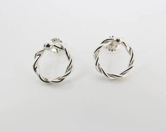 Circle Stud Earrings, Twisted Circle Studs, Small Rope Earrings, 925 Sterling Silver Stud Earrings, Perfect For Everyday Use