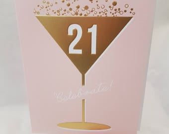 Gold Pastel Pink 21 Martini Glass Birthday Card, Special foiled and Embossed  Birthday card for a Elegant Fashionista,