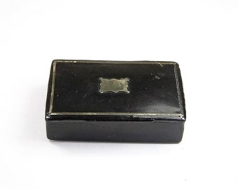 Antique Early Victorian papier mache snuff box inlaid with white metal cartouche black lacquer lacquered