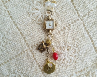 Holiday Watch Necklace, Vintage Ladies Caravelle Watch, Upcycled Charm Jewelry, Victorian Cat Charm, Christmas Jewelry, Bead and Brass Chain