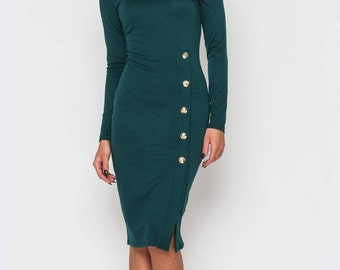 Dark green Office dress Autumn Spring Jersey dress Business woman clothes Casual clothing for women