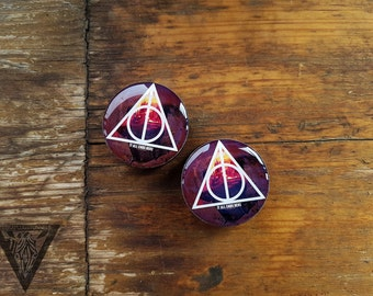 """Pair plugs Harry Potter image ear wood tunnels,6,8,10,12,14,16,18,20,22,24,25-60mm;6g,4g,2g,0g,00g;1/4,5/16,3/8,1/2,9/16,5/8,3/4,7/8,1 1/4"""""""