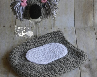 Crochet Newborn to 3 Months Koala Hat and Cocoon