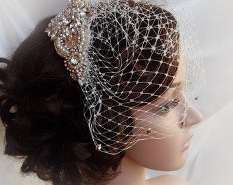 Rose gold Birdcage, rose gold, gold bridal veil, small wedding veil, blusher veil, birdcage veil, birdcage , mini birdcage veil, LORETTA