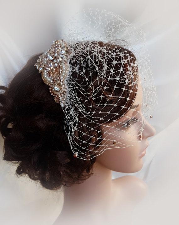 Rose Gold Birdcage Bridal Veil Small Wedding Blusher Mini LORETTA