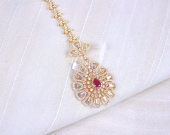 American diamond headpiece tikka gold plated | Indian Jewelry | Indian headpiece headgear South Indian Jewelry