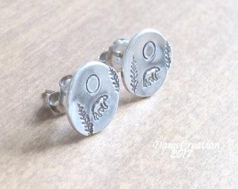 SALE Bear Earrings - Bear Jewelry - Animal Jewelry - Forest Jewelry - Nature Jewelry - Wildlife Jewelry - Silver Disc Earrings