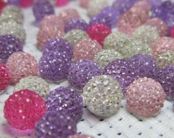 20 pieces 6mm rhinestone diamante round dome acrylic cabochons - choose colour - bling decoden stars half pearl flatback cabochons