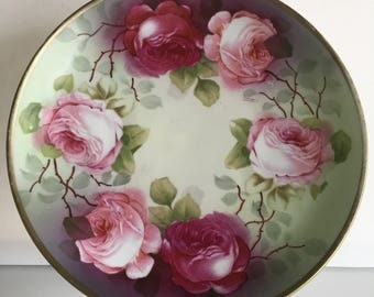 Hand Painted Rose Plate O & EG