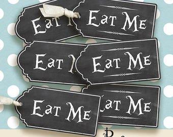Alice in Wonderland  eat me Tags, Digital Collage Sheet, Instant Download,printable images,chalk style