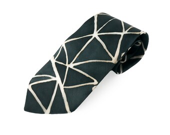 Father's day gift, Men's silk tie, black and white, geometric tie, silk gift for him, fathers day gift, birthday gift, gift under 50