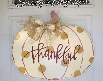 Thanksgiving Door Hanger, Thanksgiving Wreath, Thanksgiving Door Decor, Pumpkin Door Hanger, Fall Door Hanger, Fall Wreath, Pumpkin