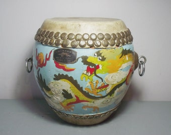 Vintage Chinese Drum/Chinese Musical Instruments/Musical Decor/Chinese Dragon/Asian Decor/Musical Gift/Oriental Decor/Christmas Gift Home