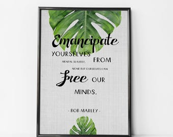 Bob Marley Poster, Reggae Poster, Rasta Quote, Reggae Music, Rasta Printable, Print It Yourself, Bob Marley, Home Decor, Photo Frame