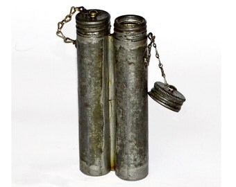 Genuine Swedish Army Double Oil Bottle For Mauser M96 metal weapon cleaning old vintage retro