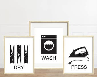 Laundry Prints - Wash Dry Press - Laundry Room Decor - Set of Three Minimalist Art Prints