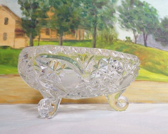 Vintage Cut Glass Candy Dish on three feet From the Brilliant Period- Clear Glass - Price was lowered