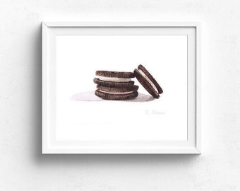 Cookie Art PRINT, Kitchen Wall Art, Dining Room Art, Playroom Art, Kitchen Decor, Food Painting, Food Illustration, Dessert Painting, Oreo