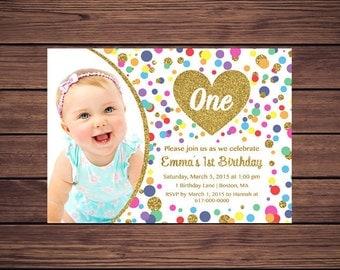 Rainbow Gold 1st Birthday Invitation Girl, Any Age Rainbow Dots and Gold Girl First Photo Birthday Invitation, Polka Dot Printable JPEG P