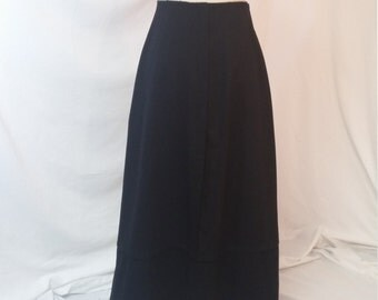 Antique Edwardian Tailored Skirt, Box Pleat, Pin-Tuck, Black Wool, Victorian, 1910, Steampunk
