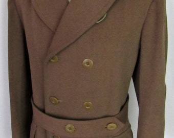 Vintage 1940s WWII US Army Belted Officer's Coat ~ 40 R ~ Wool Mackinaw shawl collar double-breasted Overcoat ~ Military Uniform