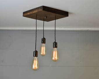 Ceiling Light - Lighting - Light fixture - Wood Light - Wood Design - Wood Fixture - Pendant Lighting - Kitchen Light - Island Lighting