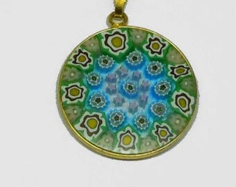Rare Blue Green Vermeil Silver Rim and Bale Millefiori Art Glass Pendant Charm