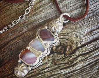 Beach Necklace - Botswana Agate - Leather Necklace - Bohemian Jewelry