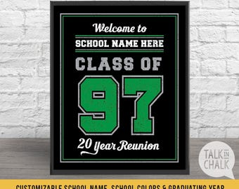Customizable Class Reunion Welcome Sign, PRINTABLE Class Reunion Poster, DIGITAL FILE, Reunion Decor, Class Reunion Ideas,