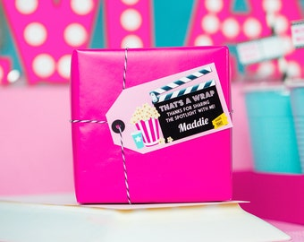 Movie Party Favor Tags - Printable Movie Party Thank You Tags in Pink - Movie Night Favor Tag by Printable Studio