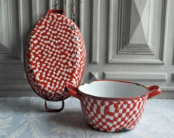 2 French enamel egg pans,dripware  pair 1930's vintage cooking pots, red and white omelette saucepan enamelware, rustic country kitchen pan.