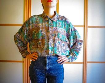 Unisex silk shirt// 80's shirt// XL Size//