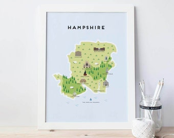 Map of Hampshire - Illustrated map of Hampshire