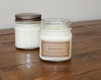 Lemongrass Soy Mason Jar Candles - 8 ounce