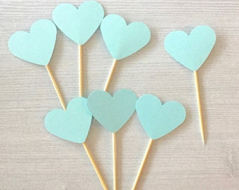 Set of 24 - Light Blue Cupcake Toppers / Bridal Shower / Engagement Party / Wedding / Birthday / Food Picks